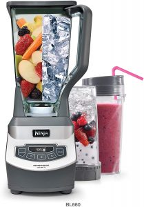 Ninja Professional Countertop Blender with 1100-Watt Base, 72 Oz Total Crushing Pitcher and (2) 16 Oz Cups for Frozen Drinks and Smoothies (BL660)